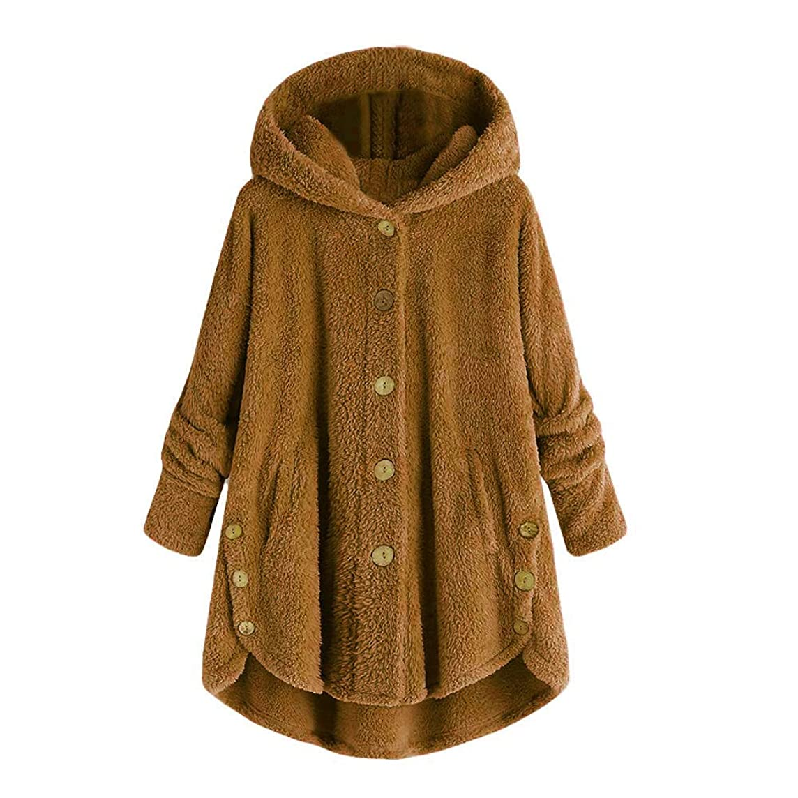 Fashion Button Coat Fluffy Tail Tops Hooded Pullover Loose Sweater Women