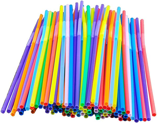 Colorful Extra Long Flexible Bendy Party Disposabl Drinking Straws 100 Pieces