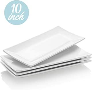 Krockery Rectangular Porcelain Platters/Serving Plates for Parties - 10 Inch, Set of 4
