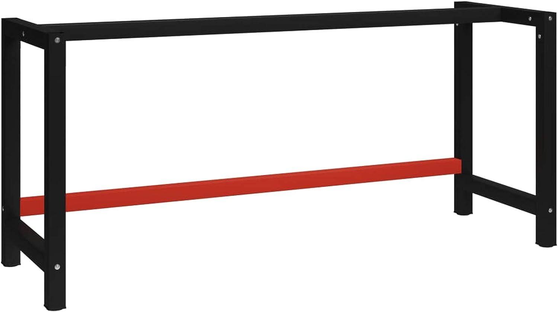 Tidyard Telaio per Banco da Lavoro in Metallo 175x57x79 cm Nero e Rosso