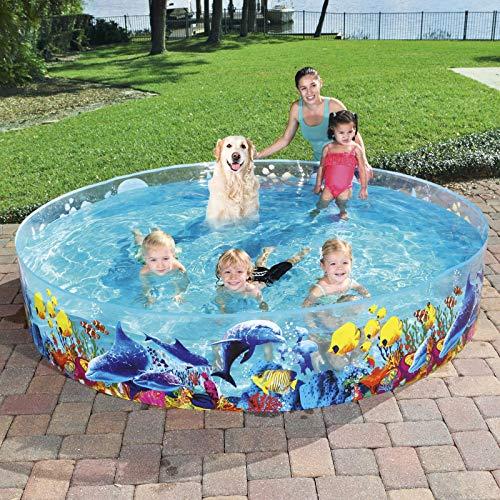 Swimming Pool for Kids Foldable 8ft - Kiddie Pool Snapset Instant Kiddie Pools Baby Pool Kids Pool for Family Backyard Dog Pet Bath Collapsible Pool Dog Pet Pool Bathing Tub Toys