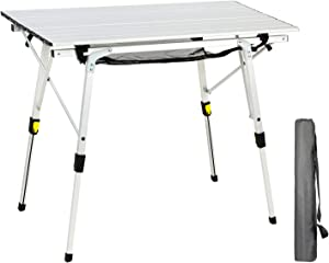 PORTAL Outdoor Folding Portable Picnic Camping Table with Aluminum Legs Adjustable Height Roll Up Table Top Mesh Layer