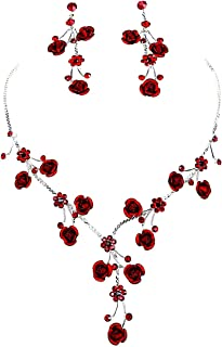 Faceted Metal Rose & Crystal Rhinestone Necklace & Earring Set for Bridal, Prom