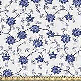ABAKUHAUS Blau Stoff als Meterware, Chinesische Blumen