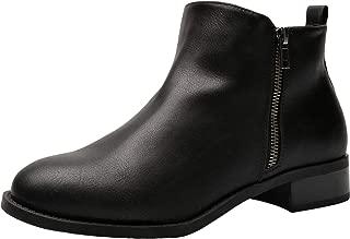 Women's Wide Width Ankle Boots - Classic Low Heel Side Zipper Comfortable Booties.
