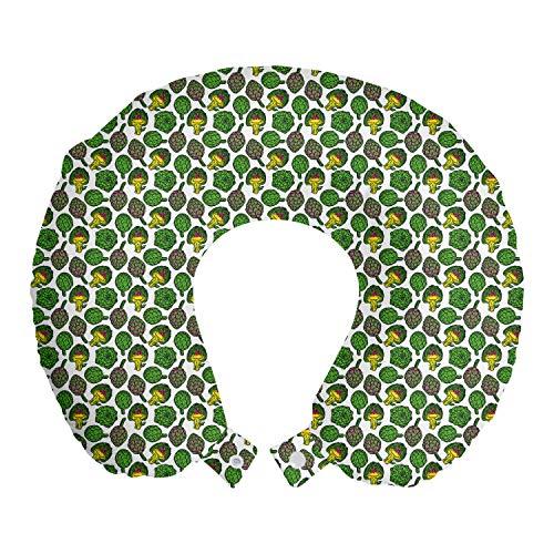 ABAKUHAUS Alcachofa Cojín de Viaje para Soporte de Cuello, Cocinar Comer Alimentos, de Espuma con Memoria Respirable y Cómoda, 30x30 cm, Amarillo y Verde del Helecho