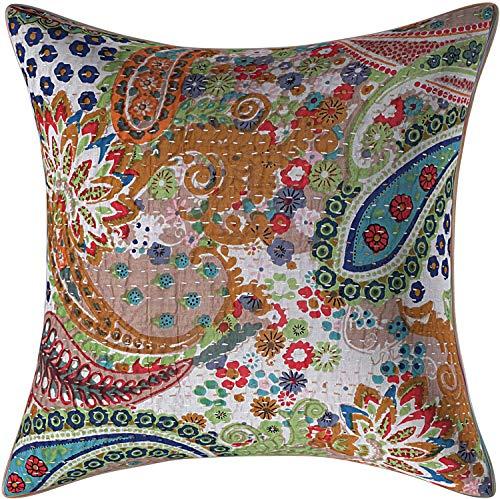 Funda de cojín de algodón para decoración del hogar, hecha a mano, diseño étnico de Kantha, de 40,6 x 40,6 cm (2)