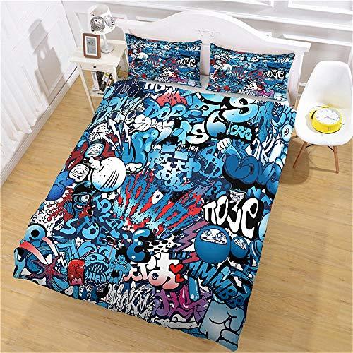 LiYiAT Bettwäsche 155X220 cm mit Weich Atmungsaktiv Blaues Graffiti Bettwäsche Set 3 Teilig 1 Mikrofaser Bettbezug mit Reißverschluss und 2 Kissenbezüge 80 X 80cm für Kinder Erwachsene