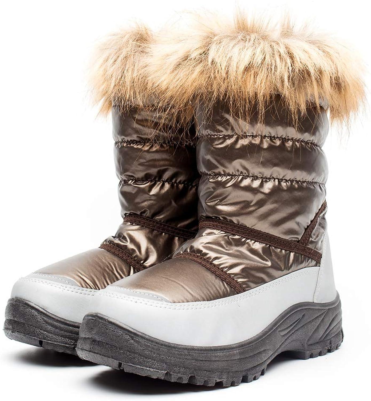 CYBLING Womens Snow Boots Warm Fur Waterproof Mid Calf Lightweight Winter Outdoor shoes