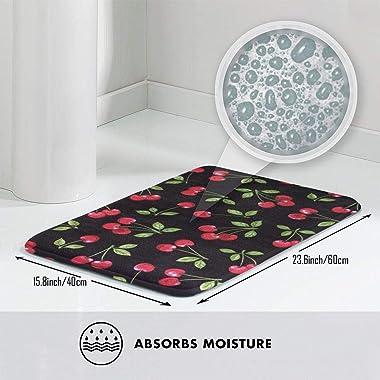 """Berry Cherry Indoor Doormat Front Back Door Mat,23.6""""x15.8"""" Mat Non Slip Large Door Rug"""