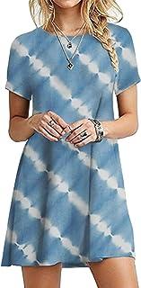 OMZIN - Vestido de mujer de manga corta, informal, de corte redondo, en tallas grandes, de 2XS a 5XL Cielo en Yh. XL