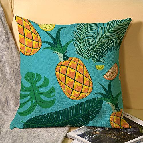 unknow Color piña y fruta naranja patrón decorativo cuadrado funda de almohada fundas de almohada fundas de almohada fundas de almohada decoración del hogar decoración para sofá cama silla DM20200330PLT016