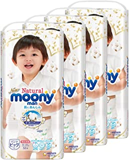 Moony Natural Pants, XL, 32 Count, (Pack of 4) (packaging may vary)