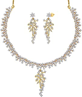 Viyari Tres Chic Cubic Zirconia 18 Inch Goldtone Necklace Earrings Set