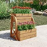 LOKATSE HOME Wooden Wagon Wheel Double-Tier Planter Outdoor Garden Decor Plant Flower Holder Stand, Brown