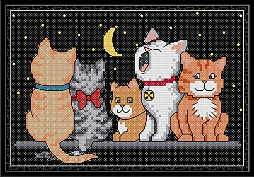 CaptainCrafts, kit per punto croce, con motivo prestampato e ricamo per principianti, per bambini e adulti, motivo: 5 gattini Bianco 14 ct.