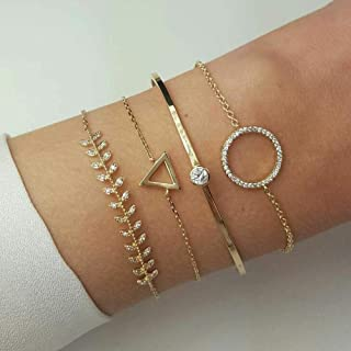 Simple Hollow Hoop Open Bracelet Ended Wide Bangle Cuff with Circle Leaf Triangle Bracelet Set for women and girls(4 pcs) (Gold)