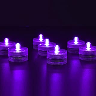 HL Submersible LED Lights Waterproof Wedding Underwater LED Tea Lights Candles for Centerpieces Party Christmas (Purple, 24 Pack)