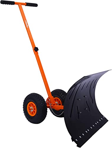 Snow Shovel with Wheels for Driveway Doorway, Ohuhu Heavy Duty Metal Snow Pusher with Adjustable Height & Angle, Roll...
