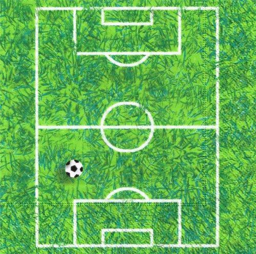 20 Servietten Soccer Field – Fußball Spielfeld / Fußballfeld / Rasen / WM 2014 33x33cm