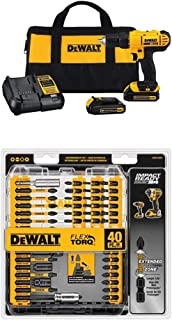 Dewalt DCD771C2 20V MAX Cordless Lithium-Ion 1/2 inch Compact Drill Driver Kit with IMPACT READY FlexTorq Screw Driving Se...