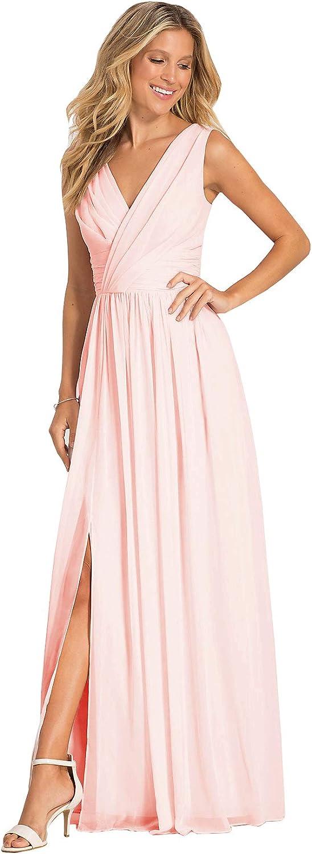 Women's V San Antonio Mall Neck Pleated Reservation Chiffon Long Fo Dresses Bridesmaid Line A