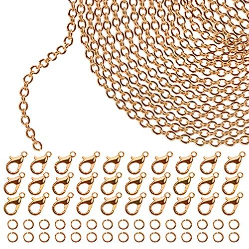 Kurtzy Cadena de Eslabones Dorada para Hacer Joyas 10 m x 2,5 mm Cadenas para Collares de Hierro, 30 Pinzas de Langosta y 30 Anillas Abiertas - Kit para Hacer Pulseras, Colgantes, Hombre y Mujer