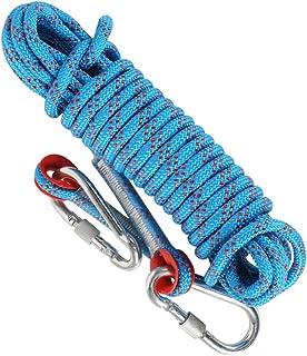 MIZOMOR Kletterseil Statisches Kletterseil im Freien10 m Outdoor Seil Feuerrettungs-Fallschirm-Seil mit 2 Karabinern für Wandern Outdoor Bergsteigen Sport Camping