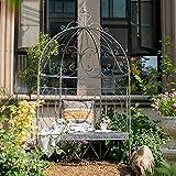 YICOL Banco de Arco de Jardín, Arco de Rosas para Plantas Trepadoras, Pérgola al Aire Libre, Arcos de Jardín de Metal, Blanco Antiguo, Hierro Forjado