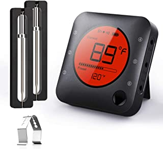 BFOUR Meat Thermometer, Wireless Bluetooth Digital Meat Thermometer with Dual Probe, Wireless Remote BBQ Thermometer for S...
