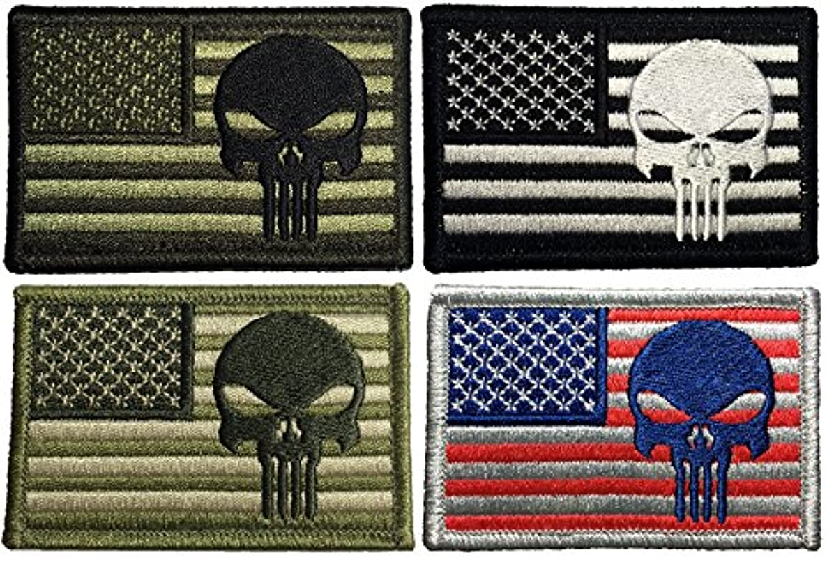 Set 4 of Tactical USA Flag with Skull Patch 2