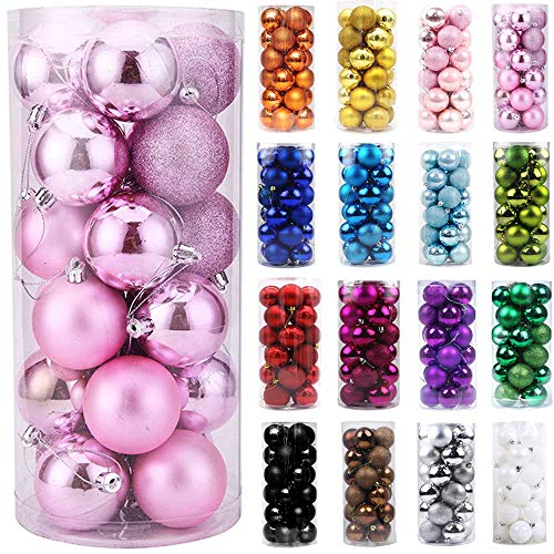 Emopeak 24Pcs Mini Christmas Balls Ornaments, Small Shatterproof Christmas Baubles for Xmas Christmas Tree, Hanging Ball for Holiday Wedding Party Decoration