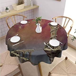 DILITECK Fantasy Dining Round Tablecloth Fairy Tale Medieval Castle High Clouds in The Foggy Mist Air Magical Scenery Round Table Diameter 54