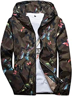 MogogoMen Full-Zip Floral Print Thin Hooded Windproof Windbreaker Jackets