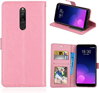 För Meizu M6T/Meiblue 6T/Meilan 6T fodral PU-läder skydd 3 kortplatser plånbok flip fodral fodral fodral rosa