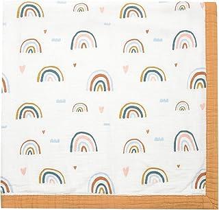 "Rainbow Muslin Stroller Blanket - Bamboo Summer Blanket for Toddler - Oversized 47"" x 47"" - 2 Layers Muslin Baby Blanket f..."