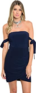 Imaginary Diva Navy Blue Cold Shoulder Ribbon Fitted Stretch Tube Party Mini Dress