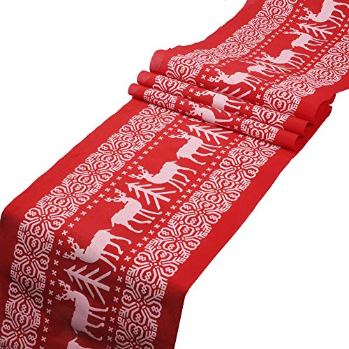 eZAKKA Christmas Red Table Runner, Printed Natural Vintage Burlap Table Lines Tablecloth Decoration with Christmas Reindeer and Tree for Christmas Holiday Season Home Table Decor (Red)