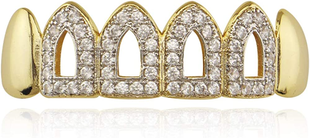 18K Gold Iced Out Hip Hop Bling 6 Six Open Face Removable Top & Bottom Grill Grillz Combo Set