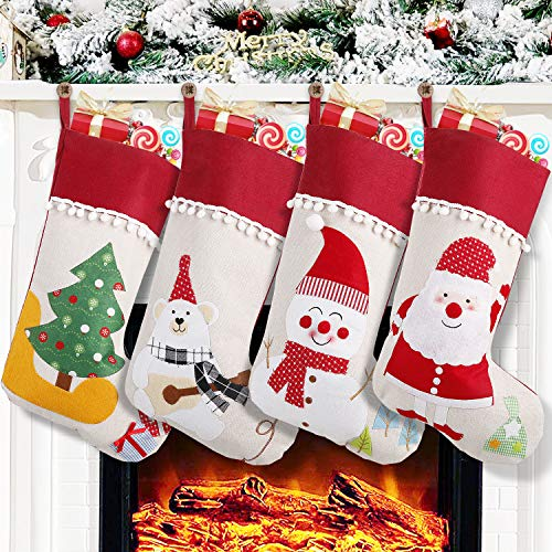 Feltom Christmas Stockings, 4 Pack Big Xmas Stockings, 3D Plush Socks Gift Bags for Kids Decor Home Ornament Holiday Party Supplies, Burlap Style with Santa, Snowman, Christmas Tree, Bears