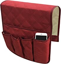 EEEKit Couch Armrest Organizer, Non-Slip Sofa Recliner Chair Storage Pocket Holder, TV Remote Control Holder Armchair Caddy Couch Bag for Smart Phone Book Magazines Red