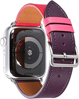Aishirui Swift Leather Single Tour Strap Compatible with Apple Watch Band 38mm 40mm iWatch Series 4/3/2/1 Genuine French Calfskin (Bordeaux/Rose Extrême/Rose Azalée Swift)