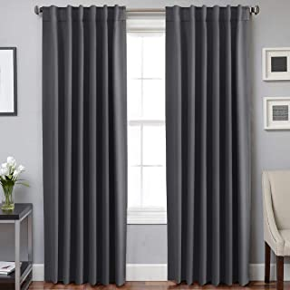 H.VERSAILTEX 100% Blackout Curtain Panels Window Draperies Insulating Room Darkening Blackout Drapes for Bedroom Back Tab/Rod Pocket Draperies 84 Inch Set of 2 - Charcoal Gray