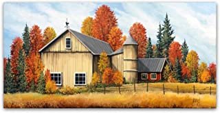 Yellow Barn Fall by Debbi Wetzel, 24x47-Inch Canvas Wall Art