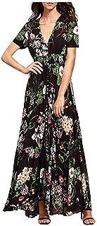 JHXS Bohemian Retro Ethnic Style Vacation Style V-Neck Loose Long Dress