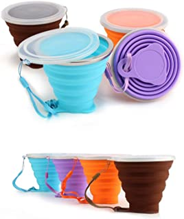 TeaMaX Collapsible Silicone Cup, Travel Camping Cup, Expandable Drinking Cup Set, Folding Mug wit lids, Camping Mug with lids, Pack of 4
