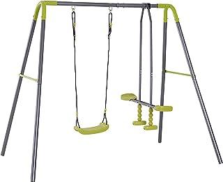 HOMCOM Set de Columpio Infantil al Aire Libre con Columpio y Planeador de balancín Columpio Jardín de Metal Juguetes Exterior Adecuado Niños 3-10 Años