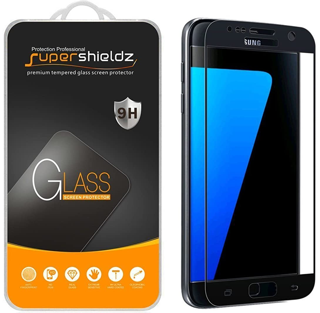 [2-Pack] Supershieldz for Samsung Galaxy S7 Tempered Glass Screen Protector, [Full Screen Coverage] Anti-Scratch, Bubble Free, Lifetime Replacement (Black) zs0161615