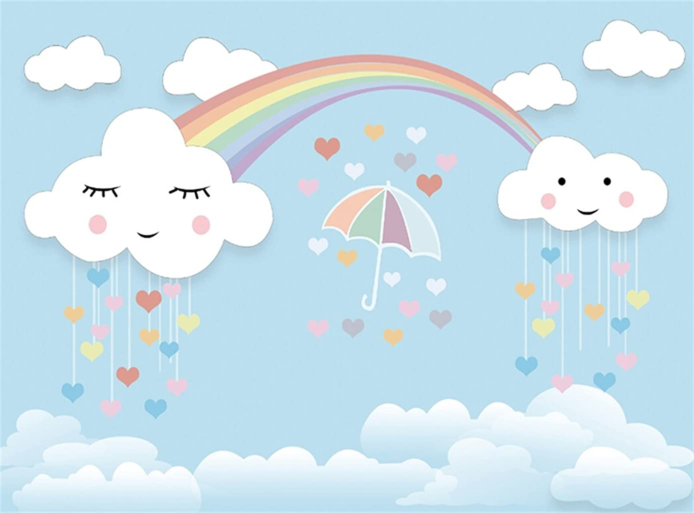 Leowefowa 9X6FT Sweet Baby Shower Backdrop Umbrella Falling Hearts Rainbow Baby Blue White Cloud Cartoon Backdrops for Photography Boys Girls Birthday Party Vinyl Photo Background Studio Props