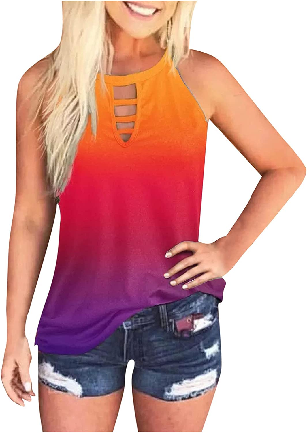 AODONG Womens Tank Tops,Womens Casual Summer Loose Fit Sleeveless Workout Tank Shirts Blouses Tunics Tops Vest